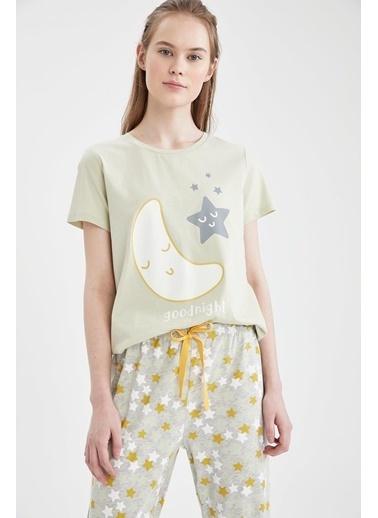 DeFacto Relax Fit Baskılı Kısa Kol Pijama Takımı Gri